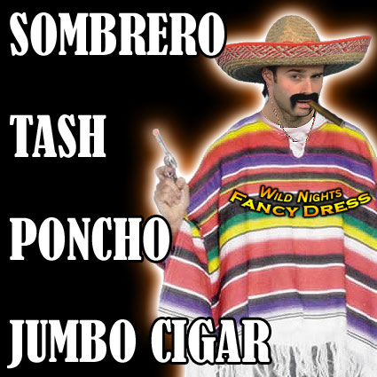 Fancy Dress Ideas on Pce Mexican Costume   Poncho   Sombrero   Tash  Cigar