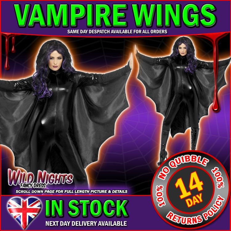 fancy dress accessory adult halloween black vampire bat wings